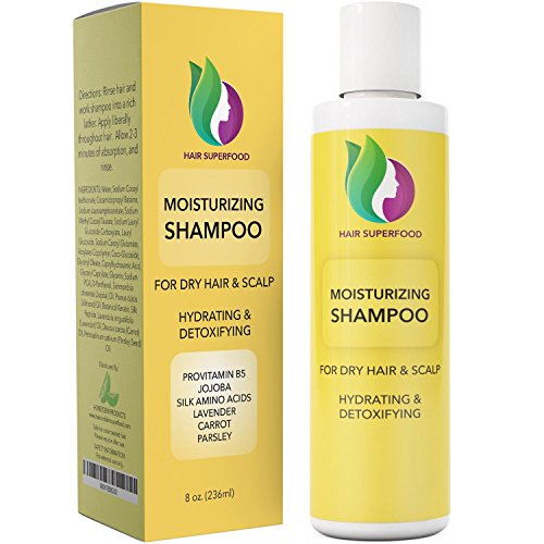 Moisturizing Shampoo For Dry Hair - Treatment For Damaged Hair + Dry Scalp - Natural Dandruff Hair Care For Women + Men - Reduce Frizz + Support Hair Growth - Pure Peach Kernel + Jojoba Make Hair Soft
