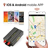 Anysun vehicles gps tracker Quad band Car Tracker SD card slot anti-theft move alarm with Remote Control Pc Version Software Google Maps Link Real Time Tracking App Scanner (TK103B)