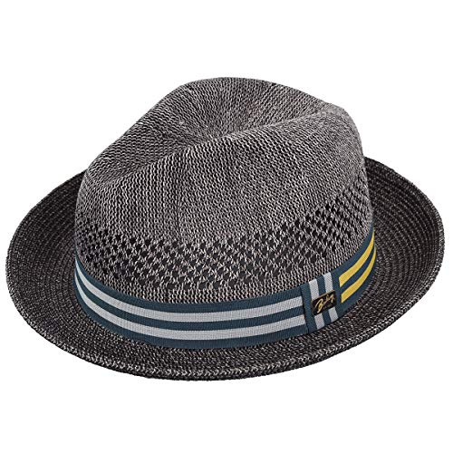 Bailey of Hollywood Men's Berle Fedora Trilby Hat with Striped Band, Charcoal, M