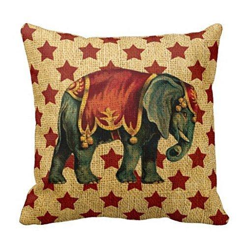 (WayHomeDecor UineDo0 Vintage Circus Elephant on Stars Superior Canvas 18 x 18 inches Pillowcase )