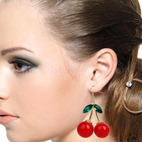 [DatConShop(TM) Rockabilly Red Cherry Diamante Crystal Drop Dangle Chandelier Hook Earring Studs] (Dia Dangle Earrings)