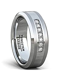 8mm Tungsten Carbide Ring Polished Brilliant Stones Mens Wedding Band