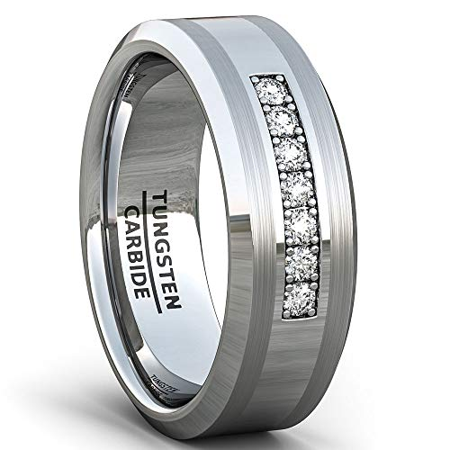 Duke Collections Mens Wedding Band 8mm Polished Tungsten Ring with Cubic Zircon Stones Beveled Edge Comfort Fit (8)