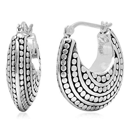 Sterling Silver Balinese Inspired Click Top Round Hoop Earrings (0.85