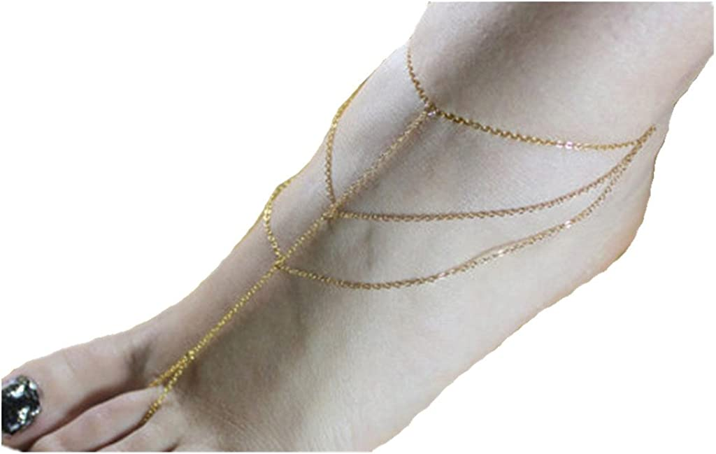 JY Jewelry Gold Tone Simple Three Layers Leg chains Link with Toe Anklet