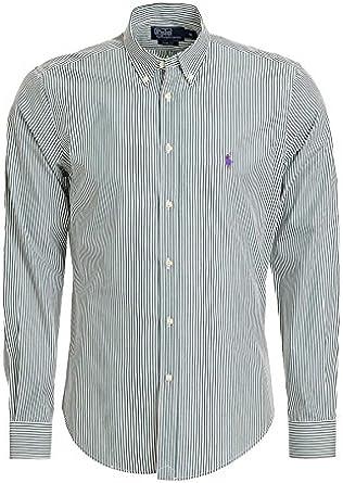 Polo Ralph Lauren – Hombre Slim Fit Camisa verde rayas | Lila Jinete – Nuevo: Amazon.es: Ropa y accesorios
