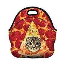 Jian Ya Na Kids' Lunch Bags Cute Printing Tote Bags Portable Insulated Thermal Cooler Storage Container Picnic Lunch Boxes for School Work Office Camping Travel (Pizza Cat)