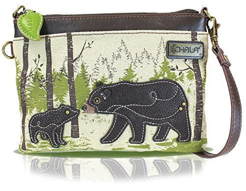 Chala Mini Crossbody Handbag, Multi Zipper, Pu Leather, Small Shoulder Purse Adjustable Strap, Safari Bear - Sand