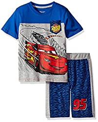 Disney Toddler Boys' 2 Piece Cars T-Shirt and Space Dye Short Set, Blue, 2t