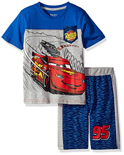 Disney Toddler Boys' 2 Piece Cars T-Shirt and Space Dye Short Set, Blue, 2t Cotton Screen Print Shorts