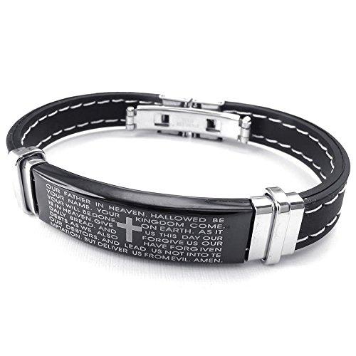 KONOV Womens Rubber Stainless Bracelet