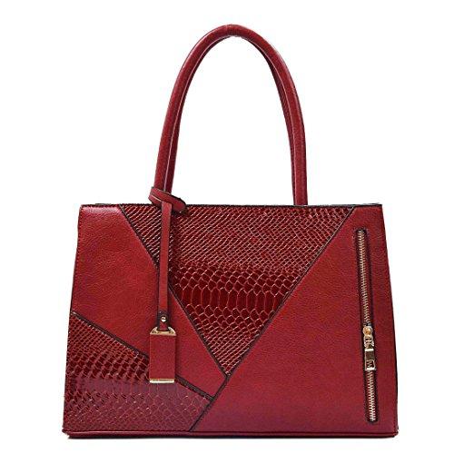 un Ladies Red Beige concepteur Femme pour épaule documents4 à porte au femmes Sac sac pour Serpentine cuir Office main grand en PU Sac n17Ow7qBRx