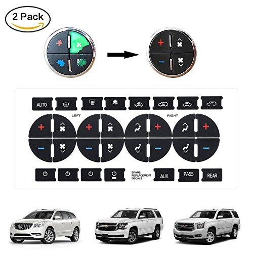 DOCA AC Dash Button Replacement Stickers, Fix Ruined Faded A/C Controls Stickers Auto Button Repair Kit for GMC Chevy Tahoe Buick Vehicle (Chevrolet Car Repair)