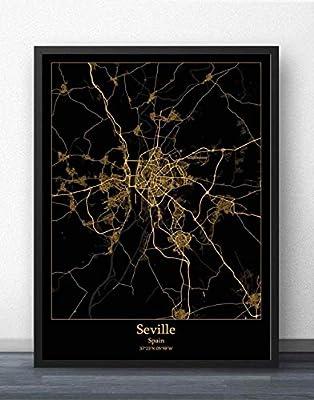ZWXDMY Impresión De Lienzo,Mapa De La Ciudad De Sevilla, España, Pintura De Arte Minimalista De Oro Negro Moderno, Mural Simple, Póster, Sala De Estar, Decoración Vertical, 30 × 40 Cm: Amazon.es: Hogar