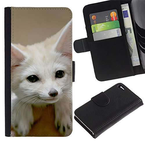 EuroCase - Apple Iphone 4 / 4S - Cute Fennec Fox - Cuir PU Coverture Shell Armure Coque Coq Cas Etui Housse Case Cover