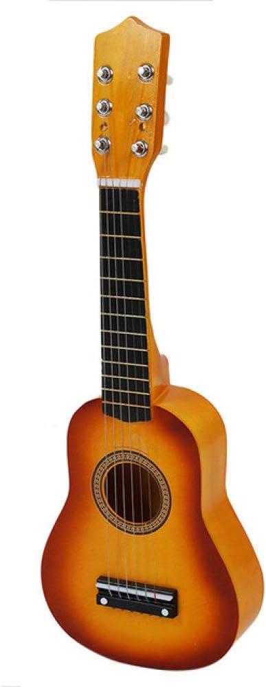 ABMBERTK , Guitarra, Mini Guitarra Ukulele de Hawaii, Ukelele acústico de 21 Pulgadas, Juguete Musical, con plectro, para niños, Adultos, Principiantes, Amarillo, 30 Pulgadas