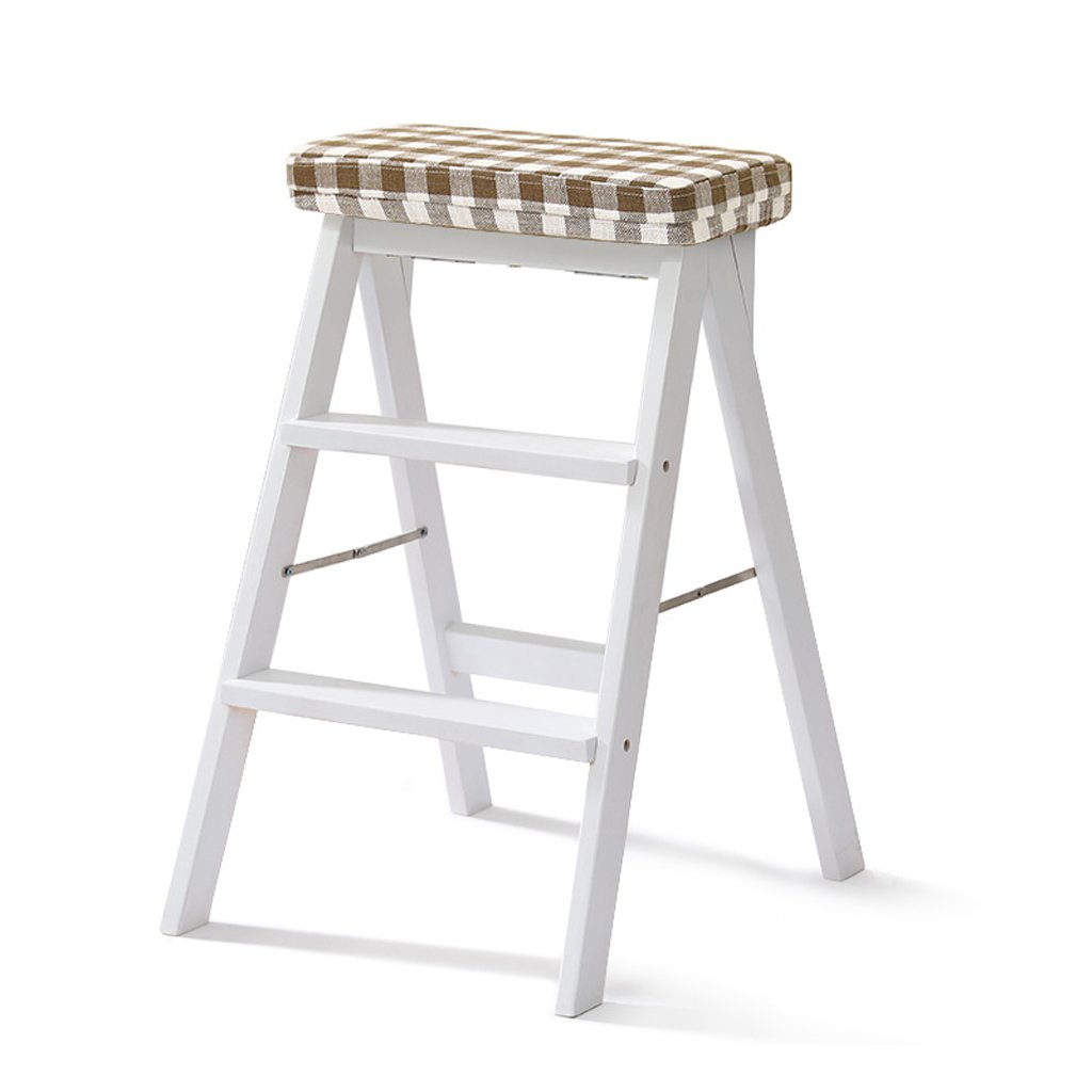 E 402064cm Solid Wood Stool Home Ladder Stool Simple Modern Portable Folding Stool Multifunctional Creative Kitchen high Stool (color   S, Size   40  20  64cm)