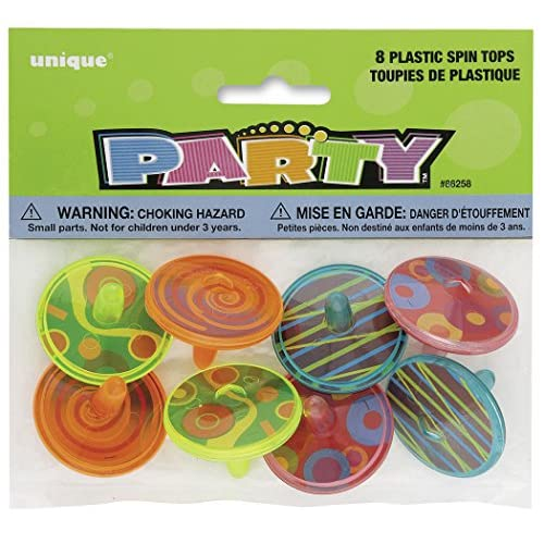 Unique Party 86258 - Paquet de 8 Toupies en Plastique pour Pochettes - Cadeau