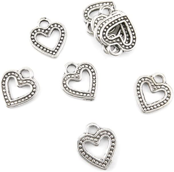 Heart Charm//Pendant Tibetan Antique Silver 13mm  30 Charms Accessory Jewellery