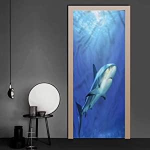 3D Door Wall Murals Shark, Exotic Dreamy Ocean Life Modern Art 3D Door Sticker Easy-to-Clean, Durable 17.1 x 78.7 Inch