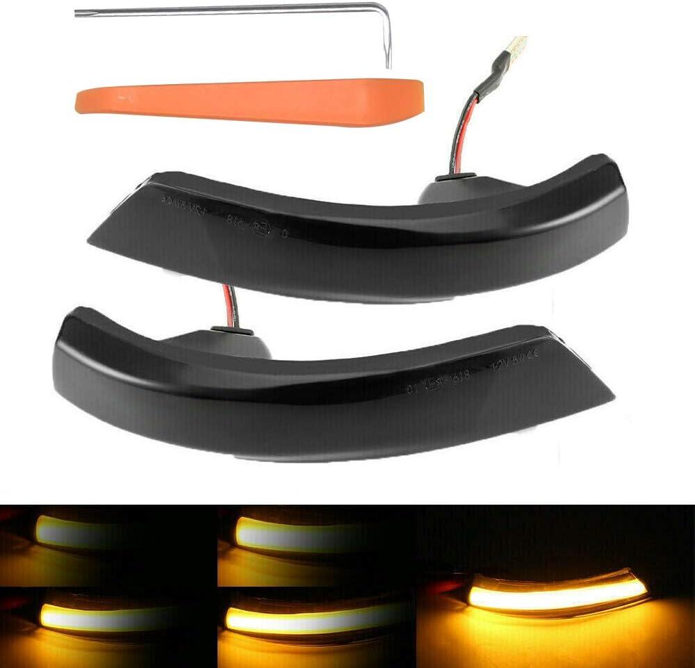 B-Black 1 Pair Dynamic Smoked LED Turn Signal Light Mirror Indicator for Focus 2008-2016