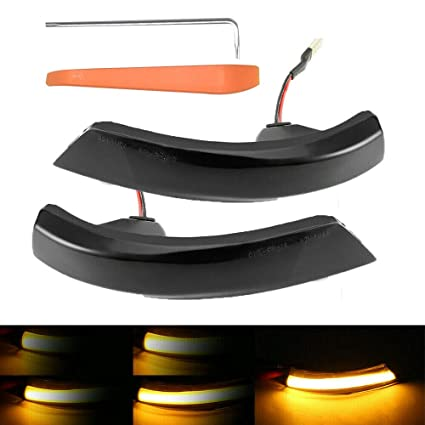 Black A Pair Dynamic LED Turn Signal Light Side Mirror Flowing Indicator for Focus 2008-2016