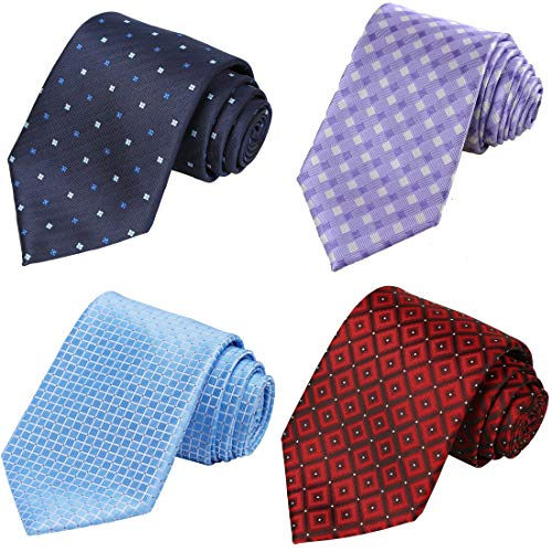 KissTies 4PCS Ties For Men Grid Gift Set Mens Neckties + 1 Magnetic Box