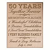 LifeSong Milestones Personalized 50th for him her Couple Parents, Custom Made 50 Year Ideas Wall Plaque 12'' x 15'' (Maple Veneer Wood)