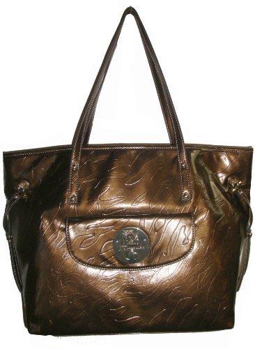 Anne Klein Women's Embossed Mane/MMN Handbag, Large, Bronzei