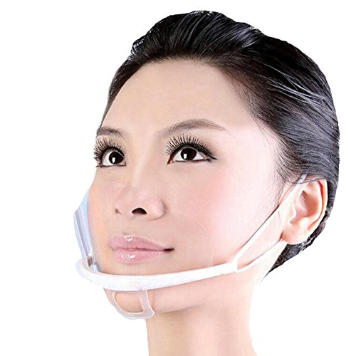 10 pcs Reusable Hygiene Sanitary Mask Clear Transparent Mouth Cover Anti-Fog Shield