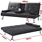 Yaheetech Modern Extra Comfort Sofa Bed Faux Leather 3 Seater Click Clack Sofabed Settee Couch with Cup Holder for…