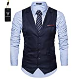 Cyparissus Mens Vest Waistcoat Men's Suit Dress Vest For Men or Tuxedo Vest (L, Dark Blue)