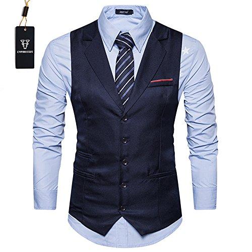 Cyparissus Mens Vest Waistcoat Men's Suit Dress Vest For Men or Tuxedo Vest (L, Dark Blue)