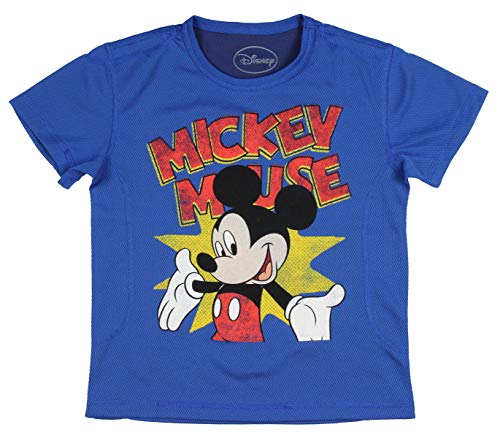 (Disney Little Boys' Mickey Mouse Jersey Style T-Shirt (5/6) Blue)