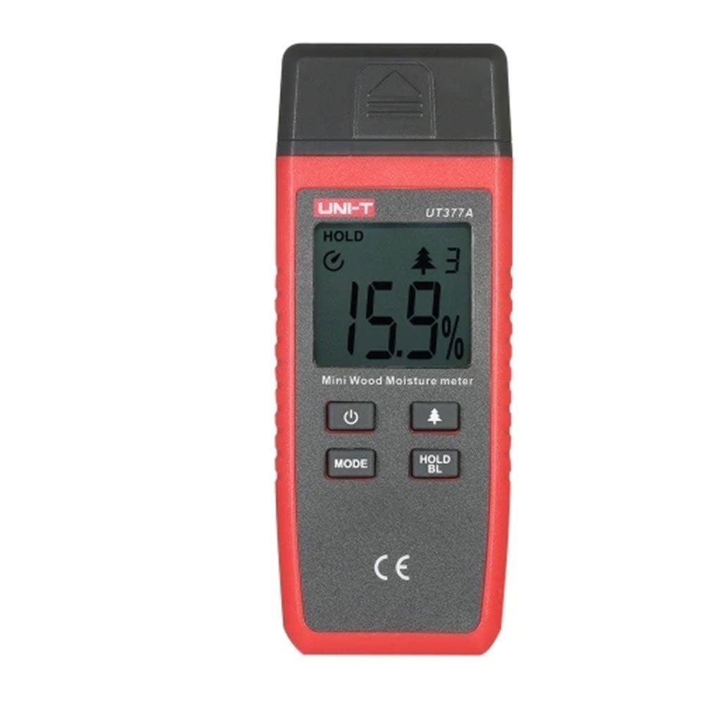UNI-T UT377A Professional Mini Hand-held LCD Wood Moisture Meter Lumber Damp Detector 2 Pins Tester Range 2%~40% Accuracy ±2%