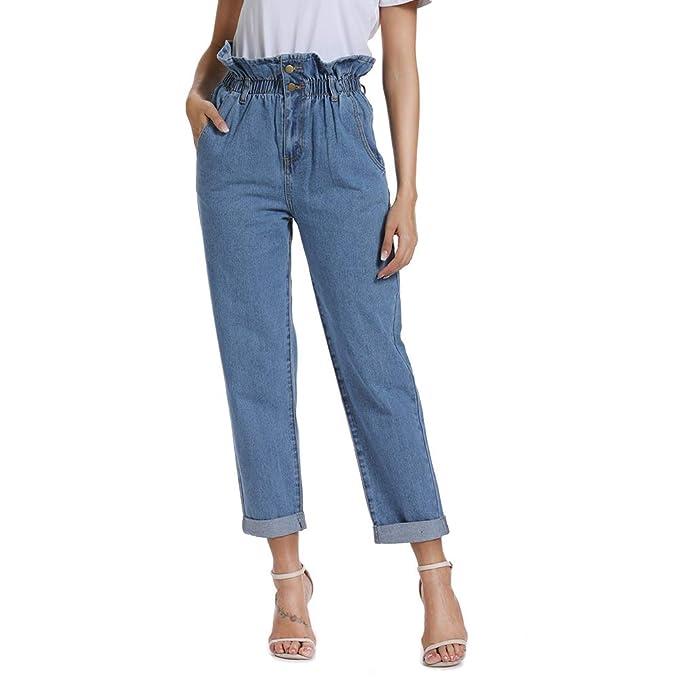 Dilgul Womens Jeans High Waist Cuff Jeans Boyfriend Straight Leg Crop Jeans