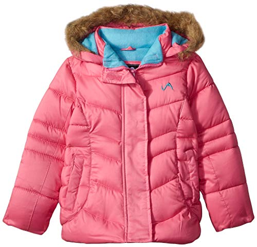 (Vertical '9 Girls' Little Fashion Quilted Bubble Jacket with Faux Fur, Medium Pink, 5/6)