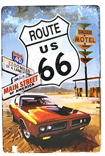 Route US 66 Main Street of America Metal Tin Sign, Vintage Car Plate Plaque Garage Home Bar Wall Decor, 20cm x 30cm