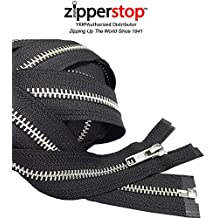 Zipperstop Wholesale YKK - Aluminum Metal Tent or Sleeping Bag Zipper (Custom Length) YKK #5 Medium Weight Separating Color Black Made in USA (Length 27 Inches)