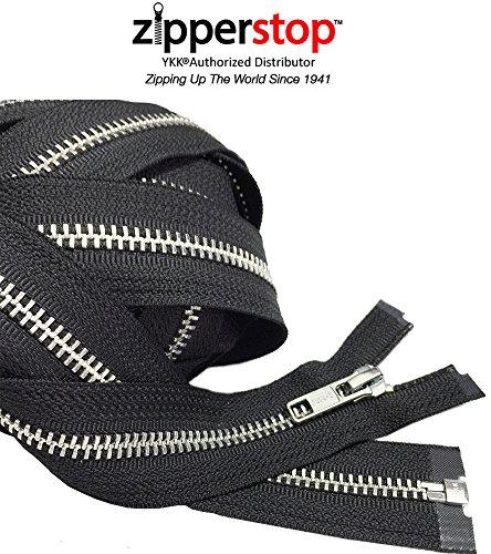 Zipperstop Wholesale YKK - Aluminum Metal Tent or Sleeping Bag Zipper (Custom Length) YKK #5 Medium Weight Separating Color Black Made in USA (Length 200 Inches)