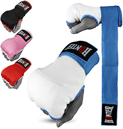 Hunter Gel Padded Inner Gloves with Hand Wraps for Boxing (Comes in Pair) (Sky Blue, L/XL)