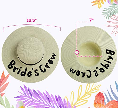 73d58bd1 Bride's Crew! Bachelorette Floppy Sun Hats, Embroidered Beach Wedding Straw  Hat with Black Ribbon, Set of 2