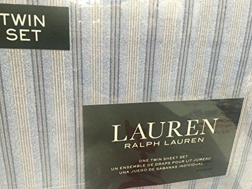 Ralph Lauren 3 pc Twin Sheet Set Light & Dark Blue & Cream Stripes in Groups of 3