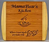 "Mama Bear Gift ~ ""Mama Bear's Kitchen Where Great Meals are made with Love"" 2-Tone Bamboo Cutting Board Heart Middle Grandma Christmas Birthday Mothers Day Engraved Side Décor Back Usage"