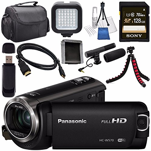 Panasonic HC-W570 HC-W570K HD Camcorder + Sony 128GB SDXC Card + Flexible Tripod + Carrying Case + Memory Card Wallet + Card Reader + Mini HDMI Cable + LED Light + Condenser Mic Bundle by Panasonic