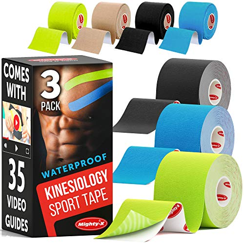 MIGHTY-X * K Tape Roll * Comes with 35 Video Guides * Kinesiology Tape Waterproof * 3 Uncut Mixed Rolls * Sports Tape Kinesiology * Each Kinetic Tape Roll - 2in*16.5ft