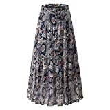 NASHALYLY Long Chiffon Skirts for Women, Maxi Skirts Bohemian Ankle Length Beach Skirt Plus Size