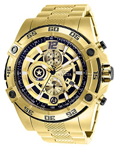 Men's Marvel Quartz Watch with Stainless-Steel Strap, Gold, 26 (Model - Invicta 26794