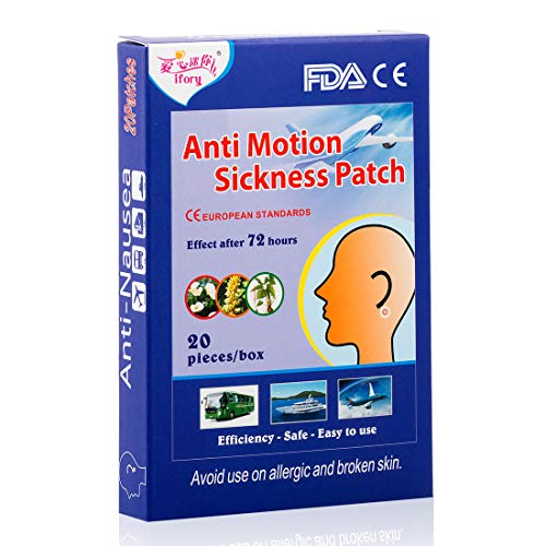 (ifory 20 Count Motion Sickness Patches for Cruise, Car, Travel, Kids, Sea Sickness Patch Behind Ear, Anti Nausea and Non Drowsy)