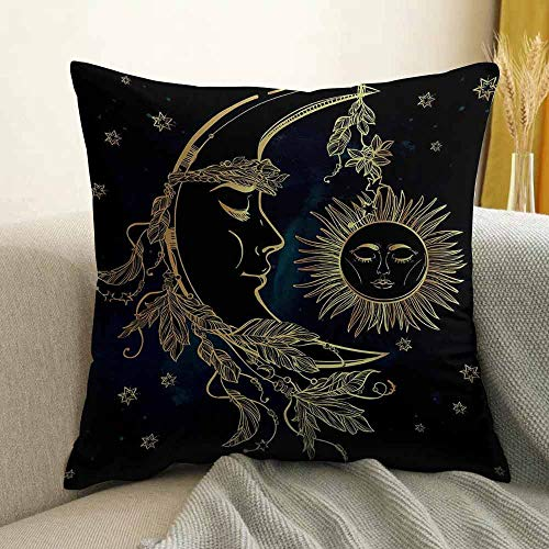 FreeKite Psychedelic Pillowcase Hug Pillowcase Cushion Pillow Crescent Moon with Boho Feathers Alchemy Magic Egyptian Myth Design Anti-Wrinkle Fading Anti-fouling W16 x L16 Inch Golden Petrol -